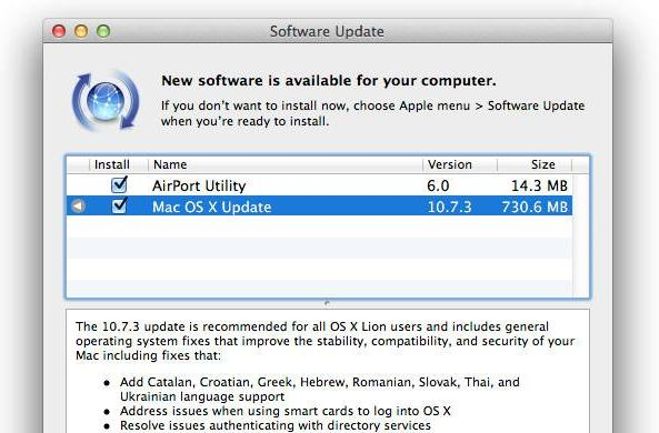Mac OS X 10.7.3 hits Software Update, ready to plug bugs on your Wednesday