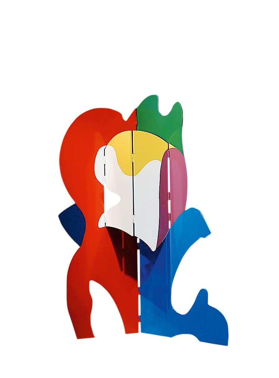 Design by de Rougemont: polychrome sculpture-screen.