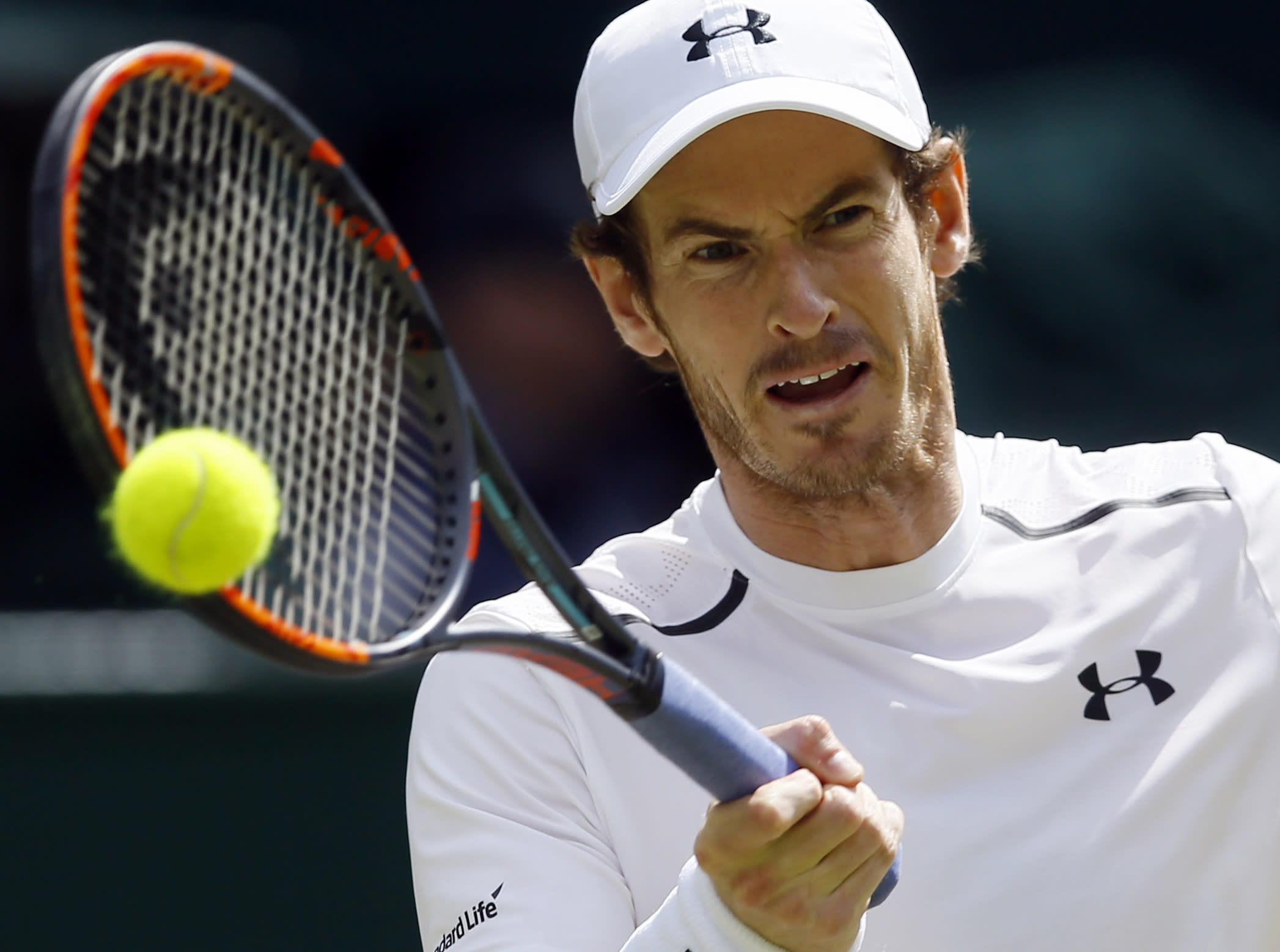 Andy Murray hits a return.
