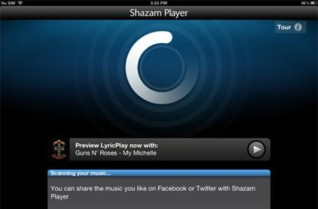 Shazam Player is available for the iPad