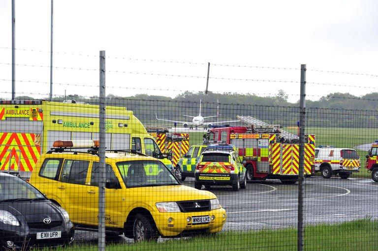 Emergency vehicles are pictured in Stansted Airport on May 24, 2013