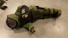 Man films hilarious video of his fiancée trapped inside bomb squad outfit