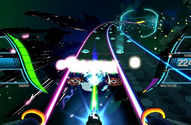 Play 'Amplitude' on PS4 in the dark with giant speakers