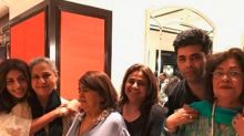 Shweta Bachchan and Karan Johar hug their mommies Jaya and Hiroo in this cute pic!
