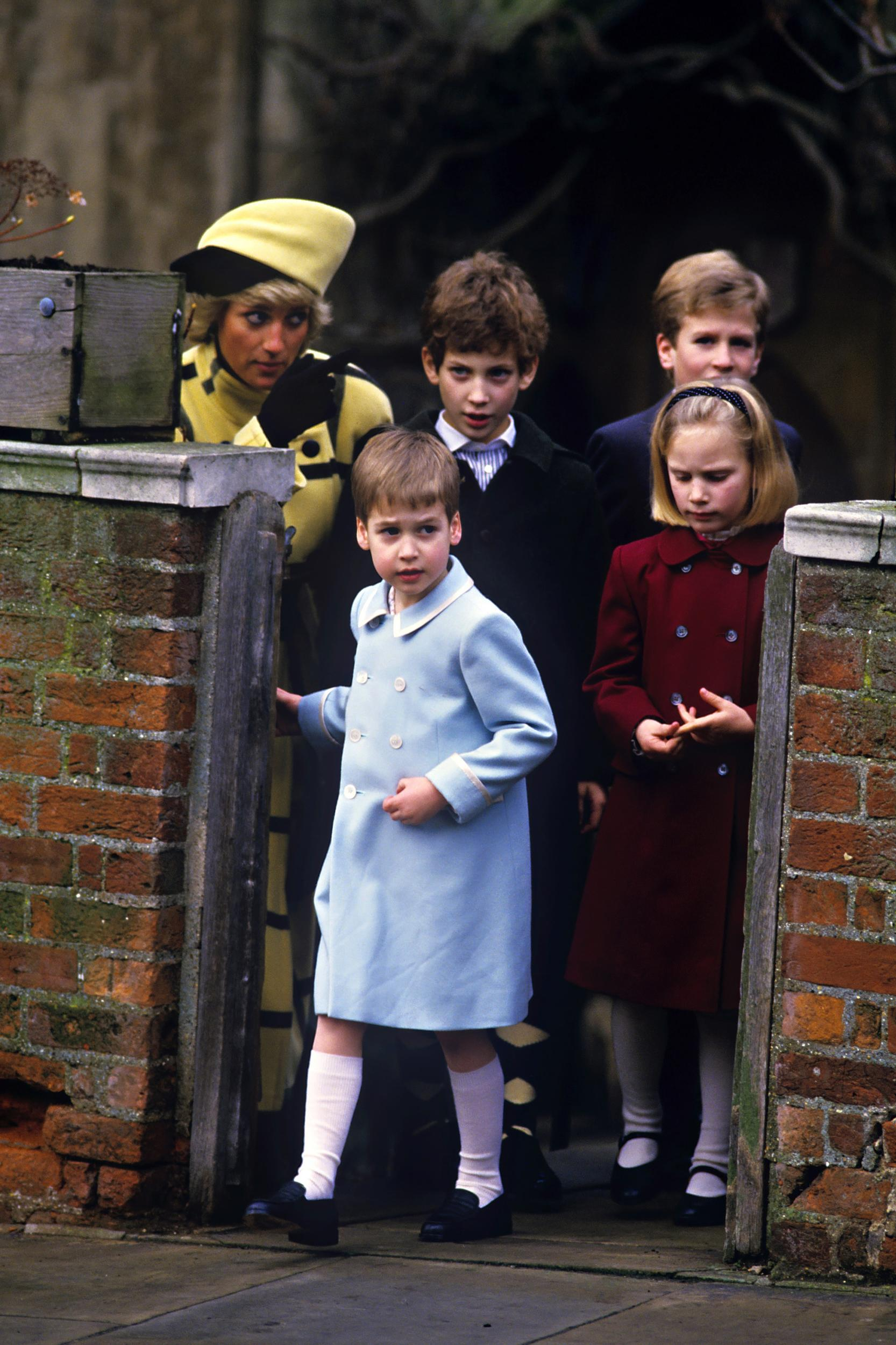 Prince William, Zara Phillips, Lord Frederick Windsor (Left ), Peter Phillips, And The Princess Of Wales, Attend The Christmas Day Service At St Georges Chapel, Windsor Castle. (Photo by Julian Parker/UK Press via Getty Images)
