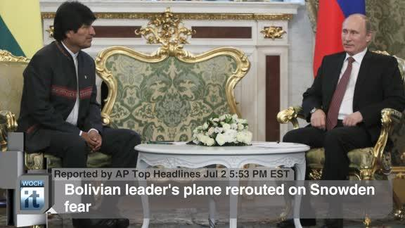 Politics Breaking News: Bolivian Leader's Plane Rerouted on Snowden Fear