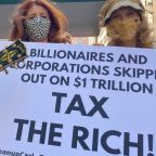 Pro-tax millionaires protest outside Jeff Bezos' home on Tax Day