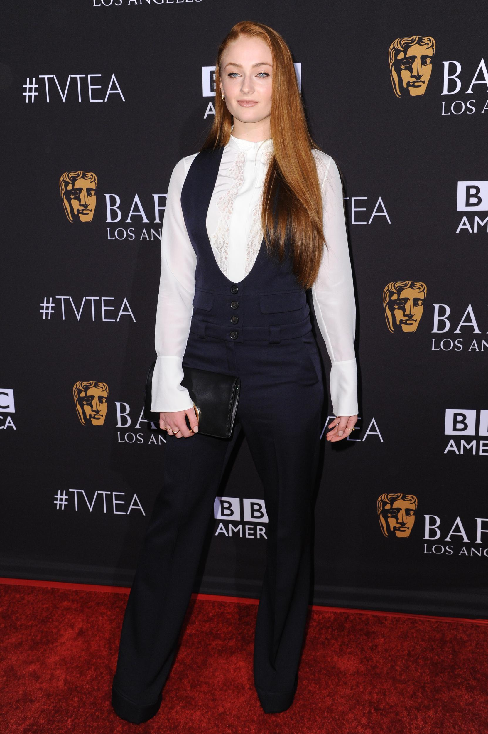 Actress Sophie Turner arrives at the BAFTA Los Angeles TV Tea at SLS Hotel on Saturday, Sept. 19, 2015, in Los Angeles. (Photo by Richard Shotwell/Invision/AP)