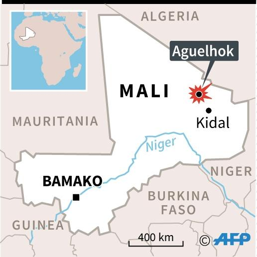 Map of Mali locating attack on UN peacekeepers (AFP Photo/)