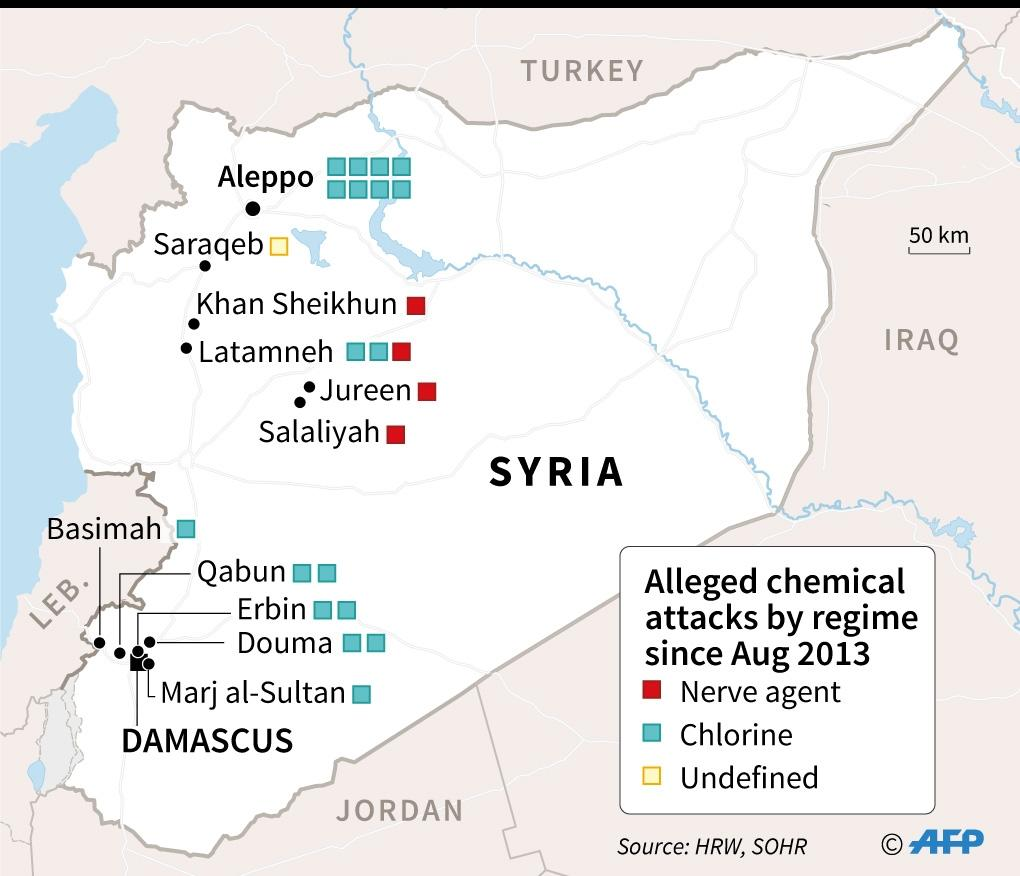 Map of Syria locating alleged chemical attacks by the regime since August 21, 2013, according to Human Rights Watch (AFP Photo/Laurence SAUBADU)
