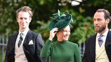 ¡Embarazadísima y muy elegante! Así llegó Pippa Middleton a la boda de la princesa Eugenia