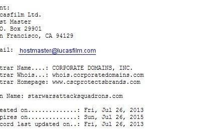 Disney registers some Star Wars Attack Squadron domains