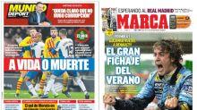 La previa del derbi barcelonés y el retorno de Fernando Alonso a la Fórmula 1, lo más destacado en las portadas