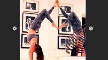 Thalía hace lo que sea para estar en forma; ¡hasta pararse en la cabeza!