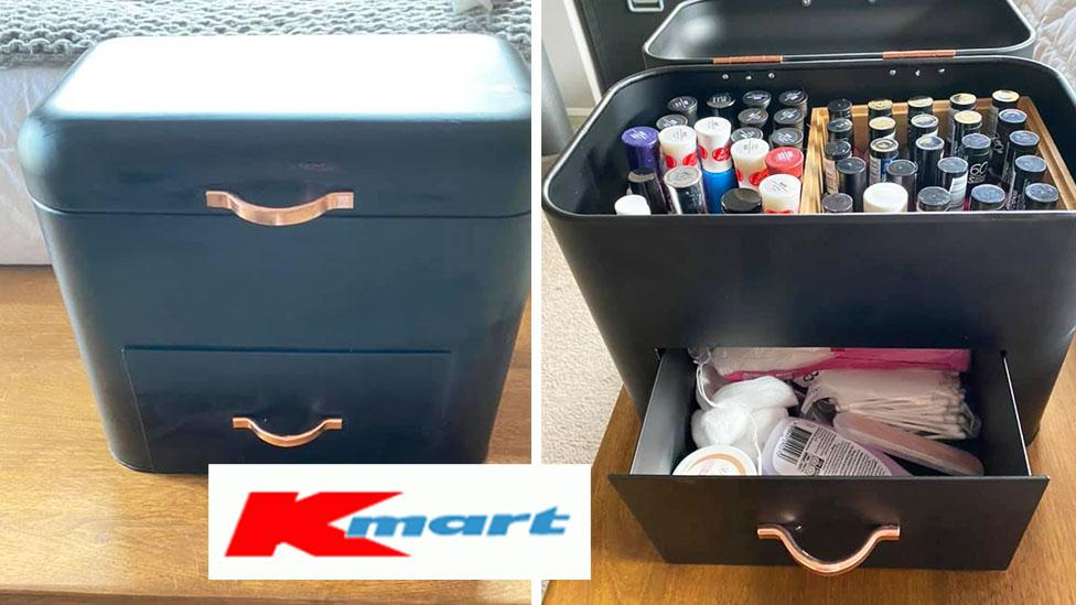 'Clever' mum transforms Kmart bread bin into nail polish caddy