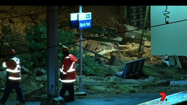Landslide causes chaos at Sydney train station