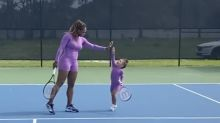 Serena Williams posted an adorable on-court video of her 'twinning' with her 2-year-old daughter