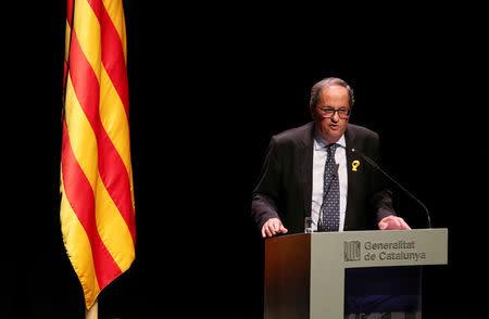 Catalan leader Quim Torra gives a speech at Catalonia's National Theatre (TNC) in Barcelona, Spain September 4, 2018. REUTERS/Albert Gea