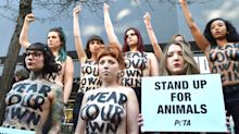 Topless activists stage fur protest at London Fashion Week