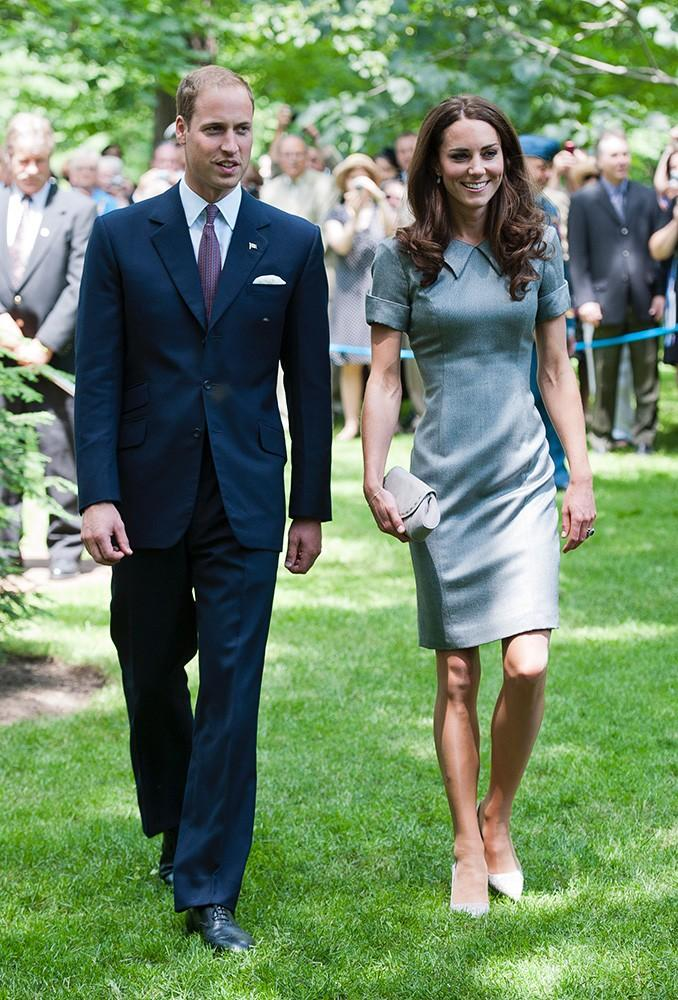 Kate wore this grey shift dress while in Canada, with a pointed collar and cuffed sleeves.