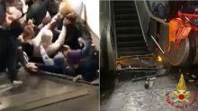 Terrifying video captures fans hurt in escalator malfunction
