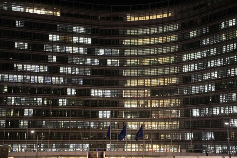 A night-time view of the European Commission headquarters building. Von der Leyen's office and bedroom is on the top floor (AFP Photo/LUDOVIC MARIN)