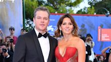 Luciana Barroso steals the spotlight from husband Matt Damon in plunging gown