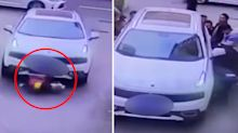 Dramatic moment boy run over before bystanders' heroic act