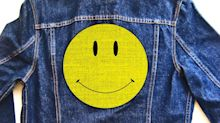 Miley Cyrus Wore a Denim Tuxedo Covered in Smiley Faces & Flowers