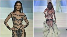Bella Hadid stuns in 'naked' dress on the catwalk