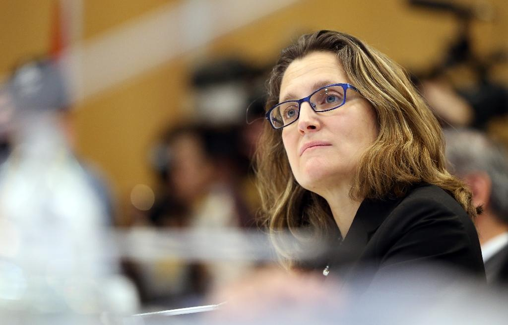 Canada's Foreign Minister Chrystia Freeland has called for a review after it was reported that light armored vehicles sold by Canada to Saudi Arabia had been used against Shia civilians (AFP Photo/MICHAEL BRADLEY)