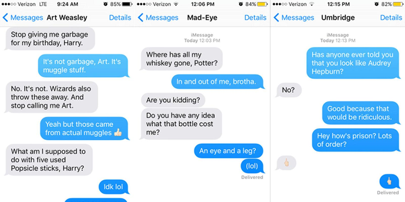 these mean texts from harry potter to other characters will make you lol
