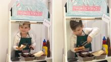 Four-year-old 'Aussie hero' creates Bunnings sausage sizzle at home