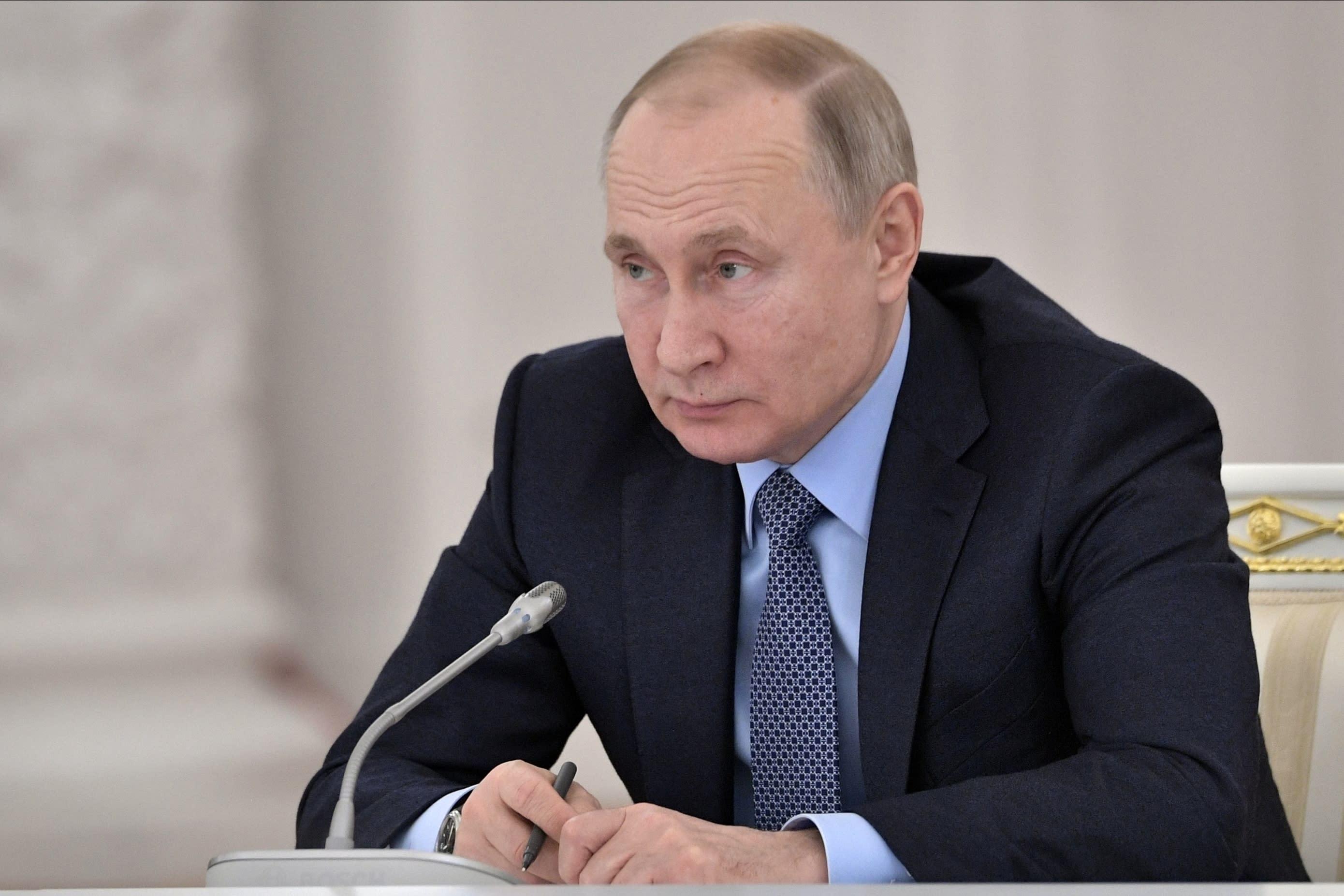El presidente ruso Vladimir Putin en el Kremlin en Moscú el 26 de diciembre del 2019. . (Alexei Nikolsky, Sputnik, Kremlin Pool Photo via AP)