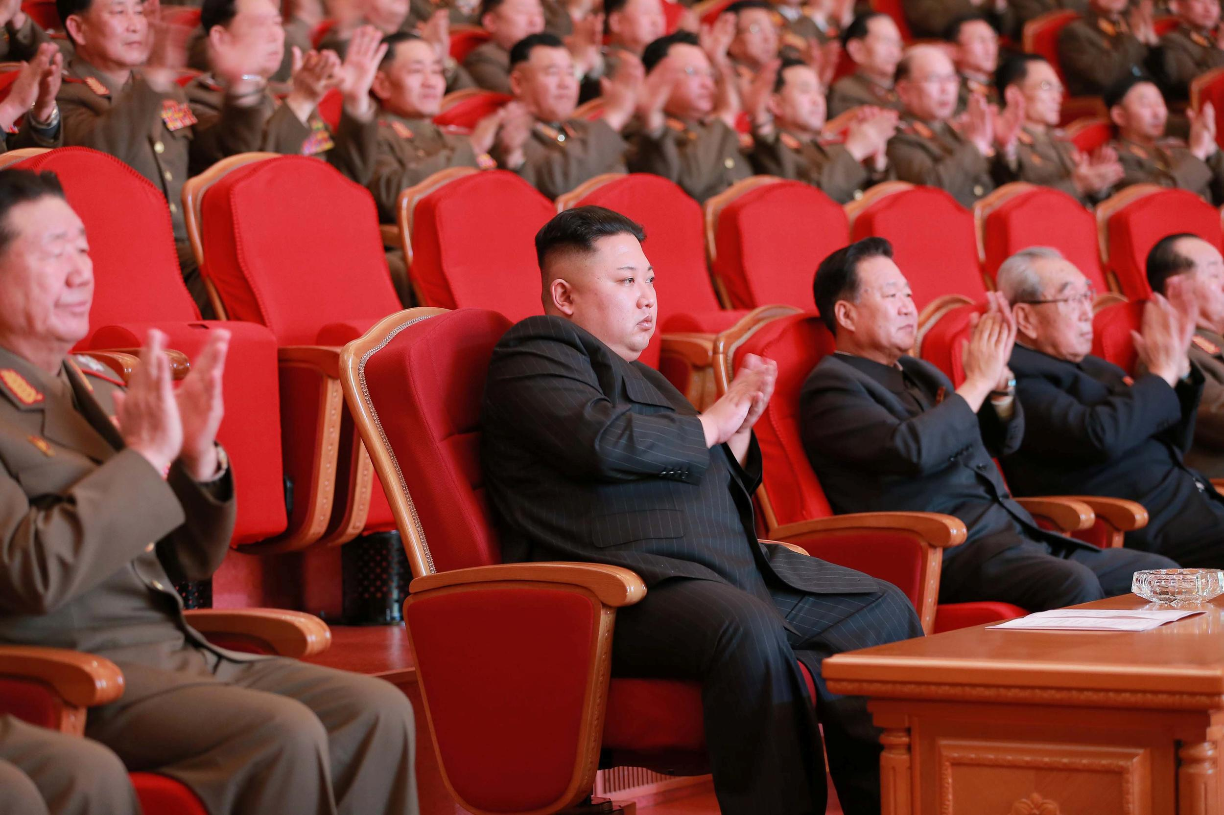 North Korean leader Kim Jong Un watches a performance given with splendor at the People's Theatre on Wednesday to mark the 70th anniversary of the founding of the State Merited Chorus in this photo released by North Korea's Korean Central News Agency (KCNA) in Pyongyang on February 23, 2017. KCNA/via REUTERS   ATTENTION EDITORS - THIS PICTURE WAS PROVIDED BY A THIRD PARTY. REUTERS IS UNABLE TO INDEPENDENTLY VERIFY THE AUTHENTICITY, CONTENT, LOCATION OR DATE OF THIS IMAGE. FOR EDITORIAL USE ONLY. NOT FOR SALE FOR MARKETING OR ADVERTISING CAMPAIGNS. NO THIRD PARTY SALES. NOT FOR USE BY REUTERS THIRD PARTY DISTRIBUTORS. SOUTH KOREA OUT. NO COMMERCIAL OR EDITORIAL SALES IN SOUTH KOREA.