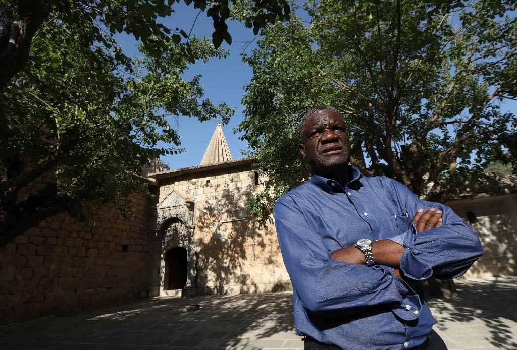 Denis Mukwege travelled to Iraq this year to help Yazidi victims of jihadists, like fellow Nobel winner Nadia Murad (AFP Photo/SAFIN HAMED)