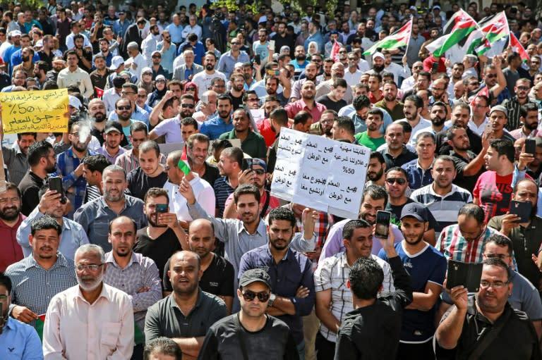 Public school teachers demonstrate demanding pay raises in Jordan's capital Amman in October 2019