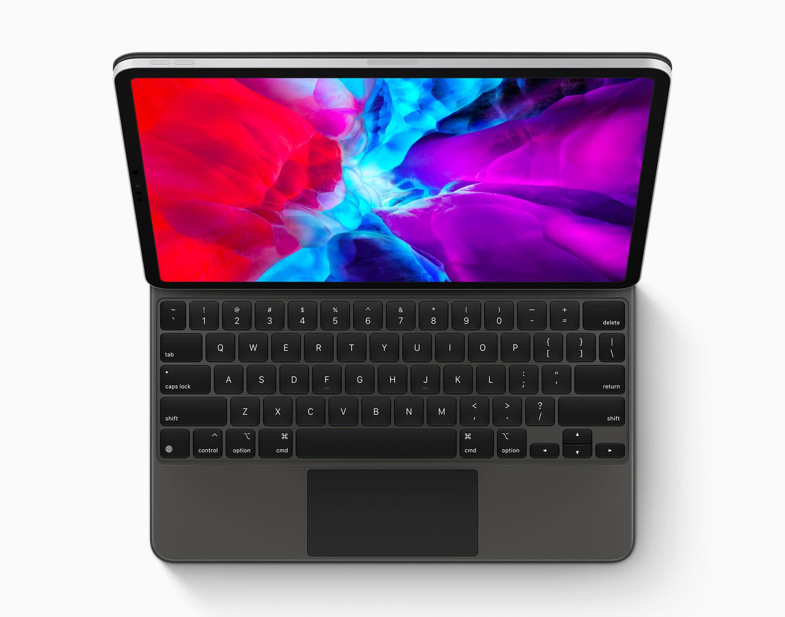 iPad with trackpad keyboard
