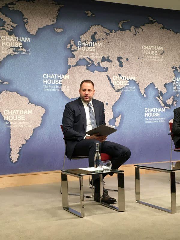Andriy Yermak, aide to Ukraine President Volodymyr Zelenskiy, speaks at London's Chatham House
