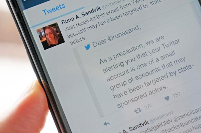 Twitter warns users targeted by state-sponsored attacks