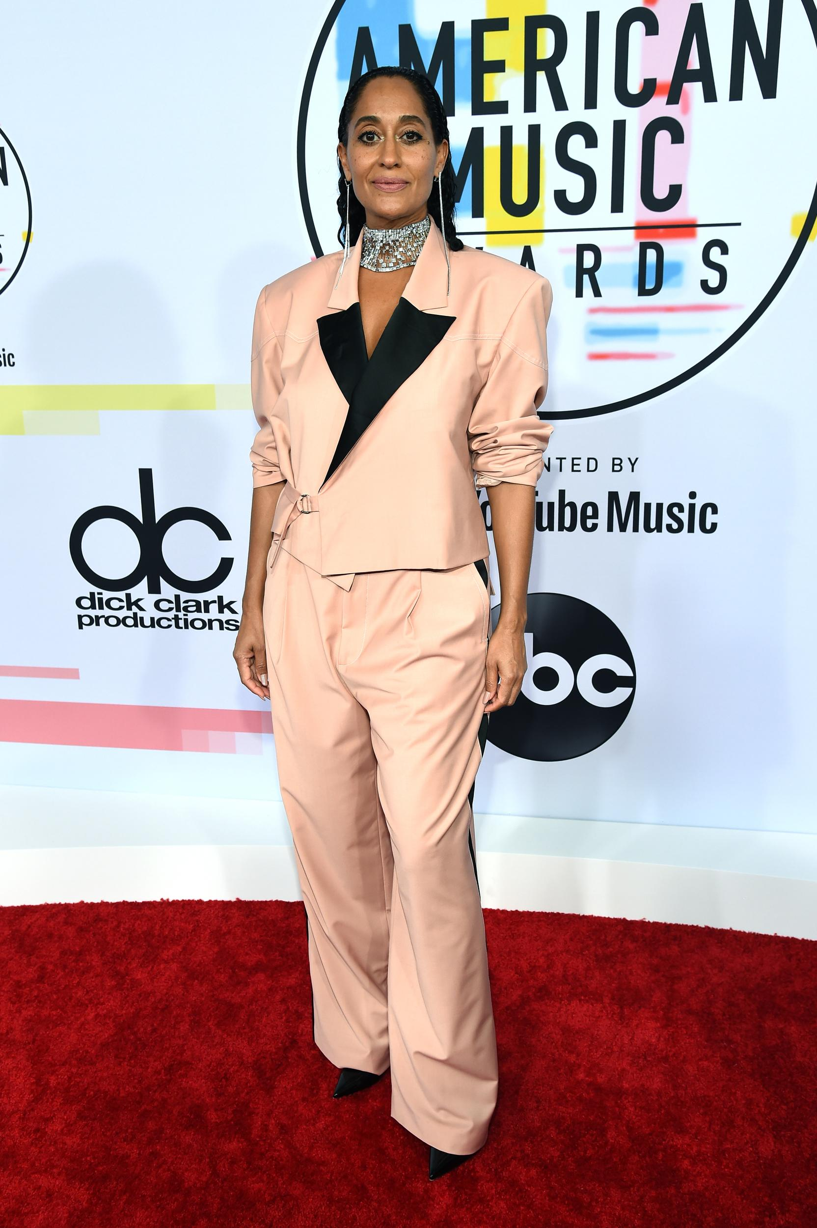 LOS ANGELES, CA - OCTOBER 09: Host Tracee Ellis Ross attends the 2018 American Music Awards at Microsoft Theater on October 9, 2018 in Los Angeles, California. (Photo by Kevin Mazur/Getty Images For dcp)