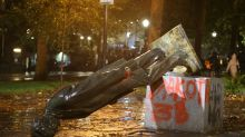 Protesters knock down Roosevelt, Lincoln statues in Portland