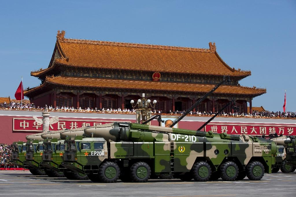 At a military parade in September 2015, China showed off 'carrier-killer' missiles, including the land-based DF-21D intermediate-range type which is thought to be equipped with onboard terminal guidance systems (AFP Photo/Andy Wong)