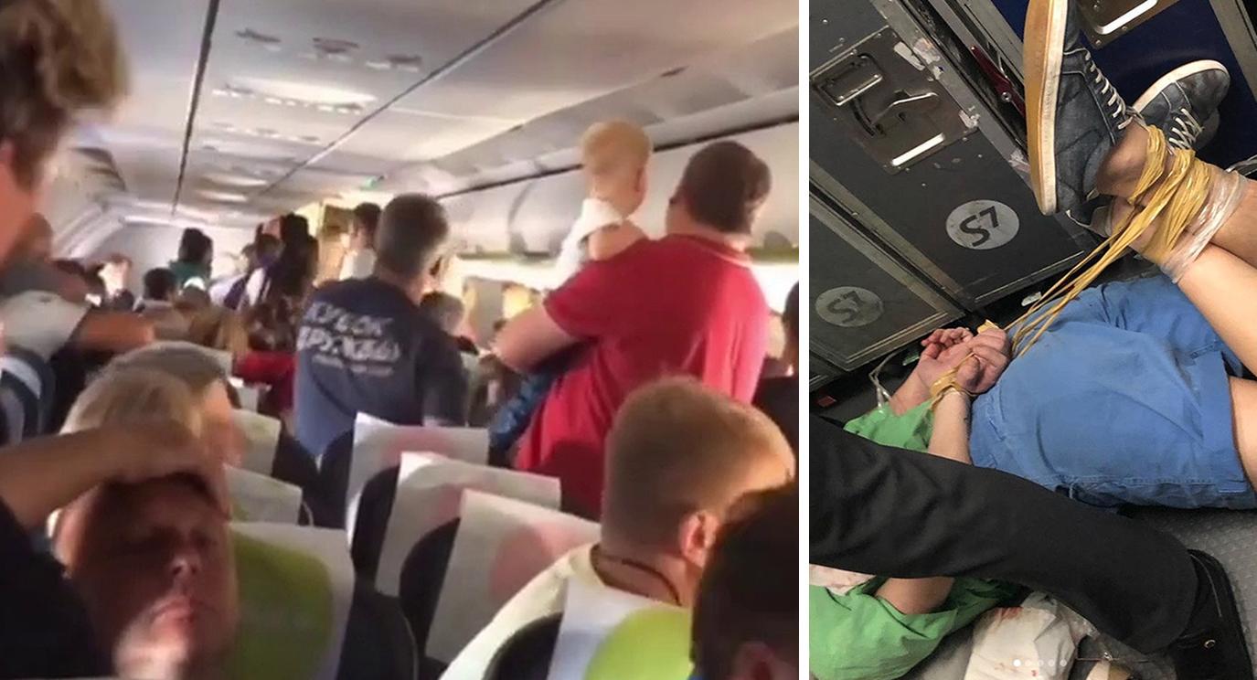 Passengers tie up 'hooligan' ahead of emergency landing