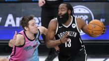 Nets nearly blow 18-point lead, but get first win with Big 3