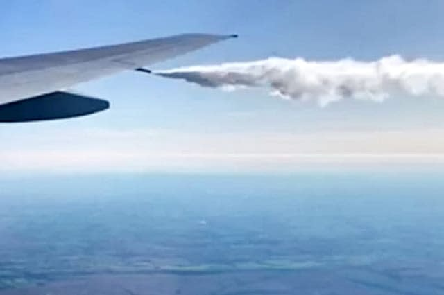 Video footage shows a British Airways pilot forced to take emergency action by dumping engine fuel over the Bristol Channel