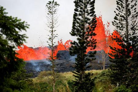 Lava erupts on the outskirts of Pahoa during ongoing eruptions of the Kilauea Volcano in Hawaii, U.S., May 19, 2018. REUTERS/Terray Sylvester