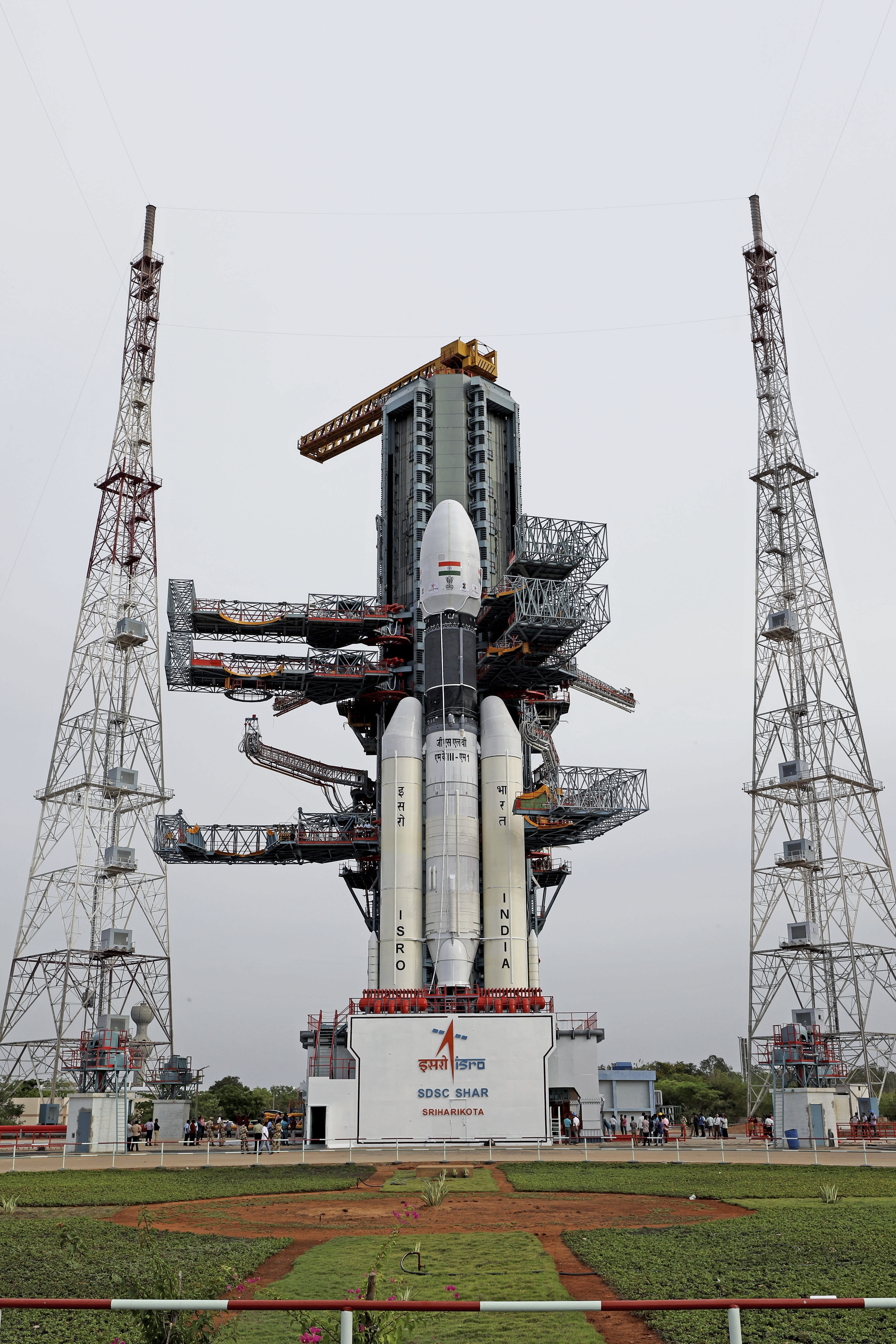 This July 2019, photo released by the Indian Space Research Organization (ISRO) shows its Geosynchronous Satellite Launch Vehicle (GSLV) MkIII-M1 being prepared for its July 15 launch in Sriharikota, an island off India's south-eastern coast. India is looking to take a giant leap in its space program and solidify its place among the world's spacefaring nations with its second unmanned mission to the moon, this one aimed at landing a rover near the unexplored south pole. (Indian Space Research Organization via AP)