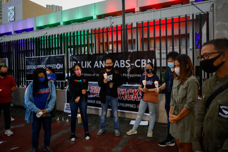 ABS-CBN broadcast network employees gather as Philippine congress finalizes decision on franchise renewal