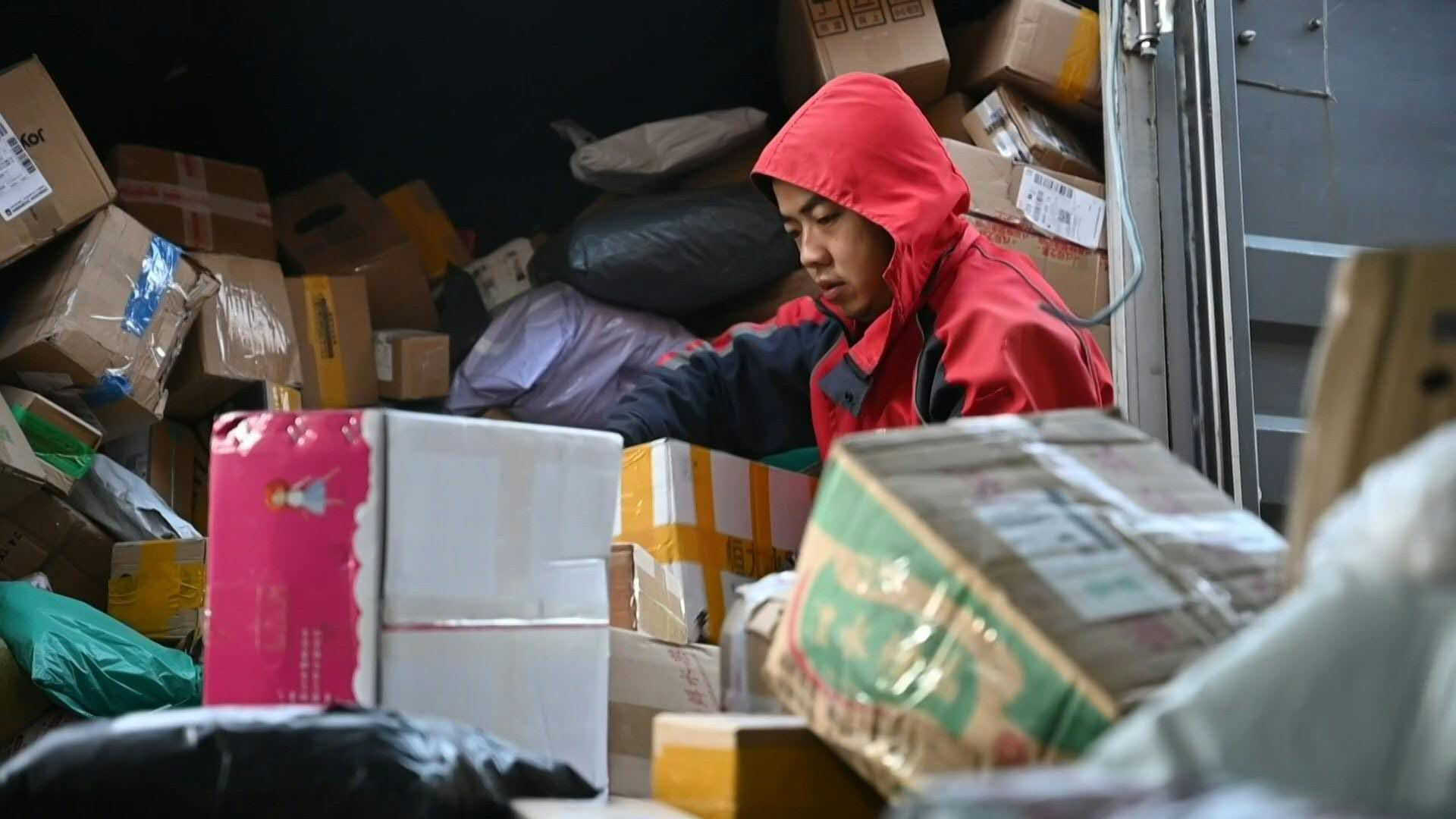 Chinese delivery workers get busy before annual shopping spree